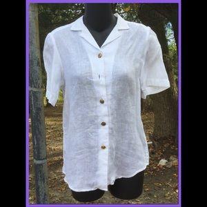 Vtg Linen Shirt, sz 4